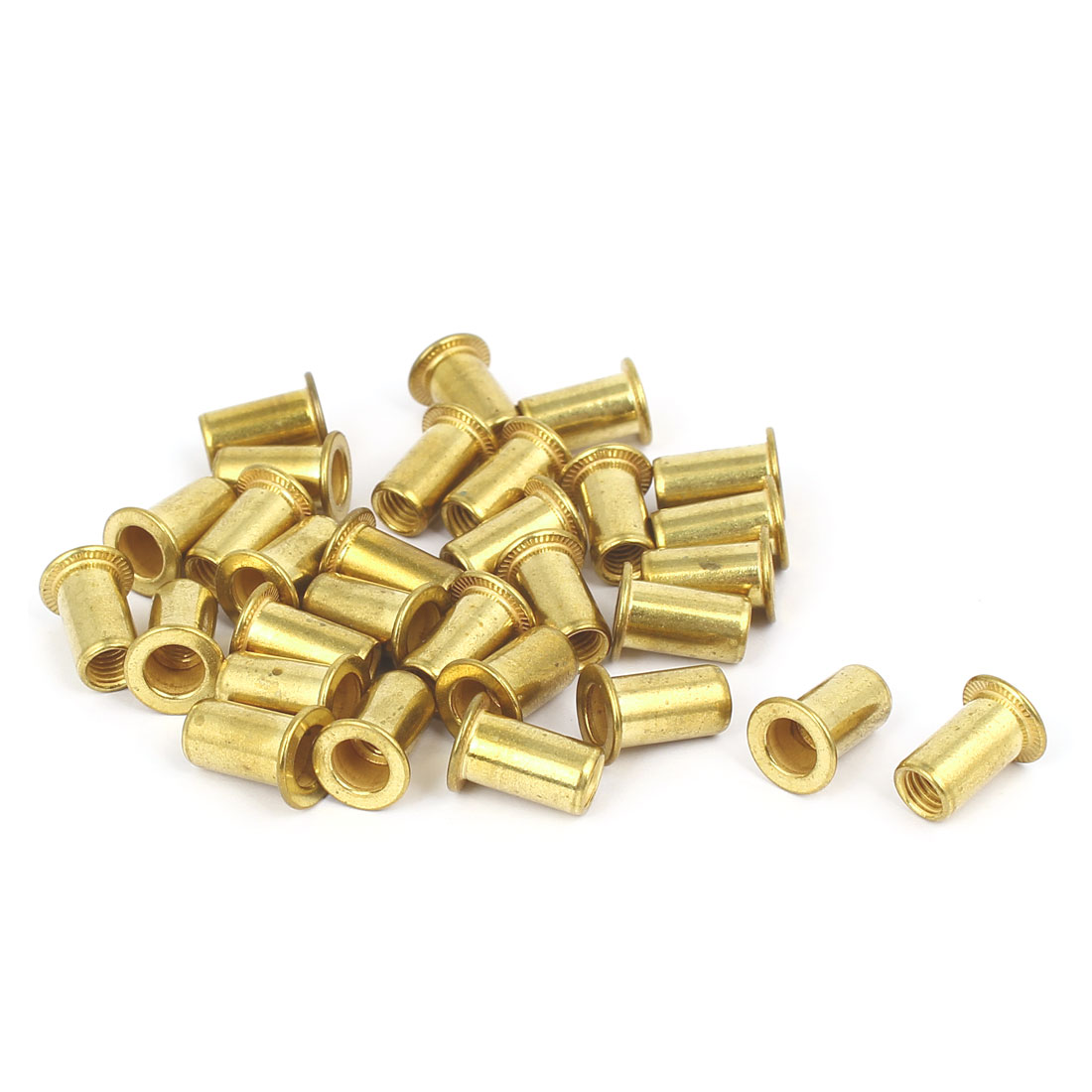 Furniture Metal Flat Head Rivet Nut Insert Nutsert M5 Thread Dia 13mm Long 30pcs