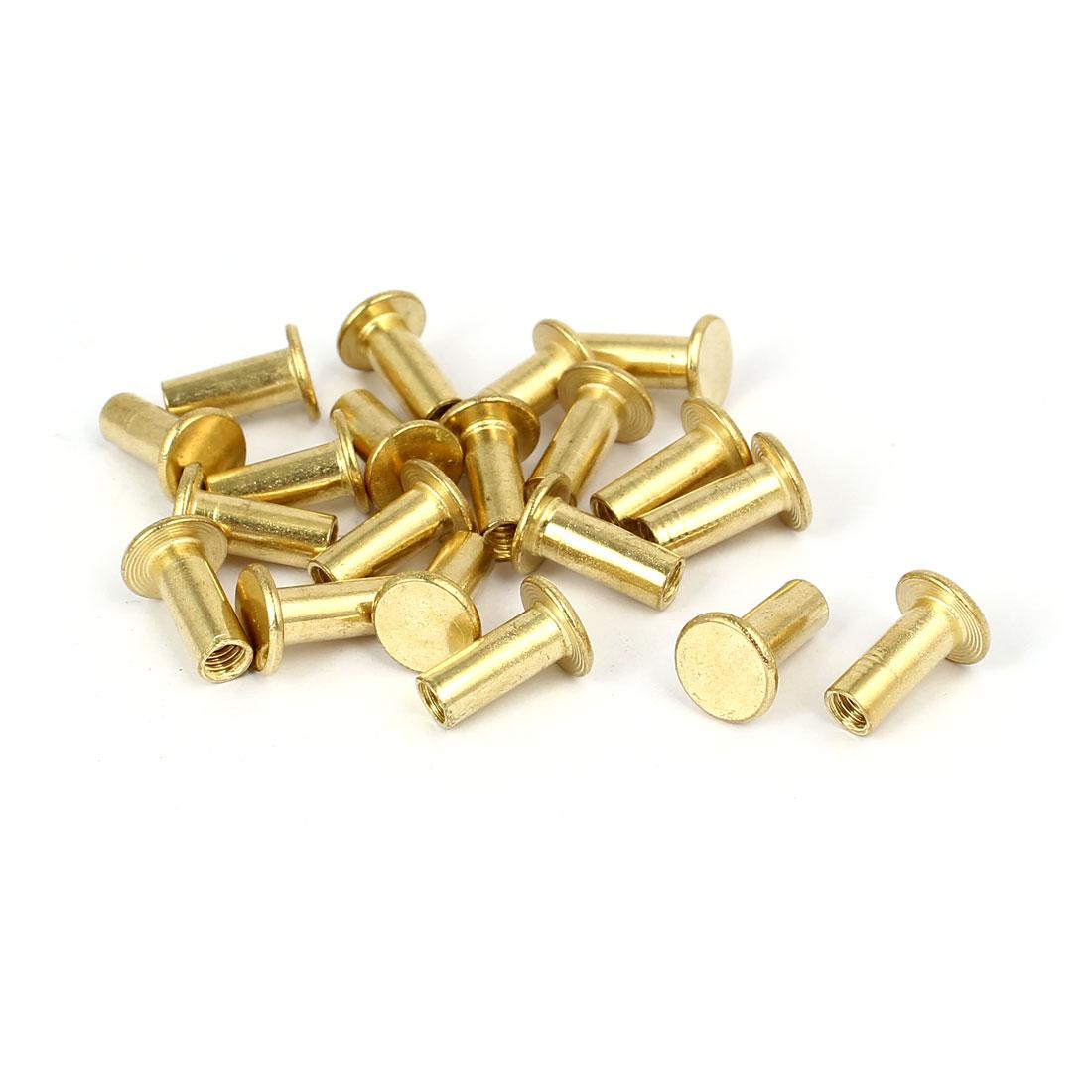 Photo Album Metal Brass Plated Binding Screw Post Barrel Nut 5mmx12mm 20pcs