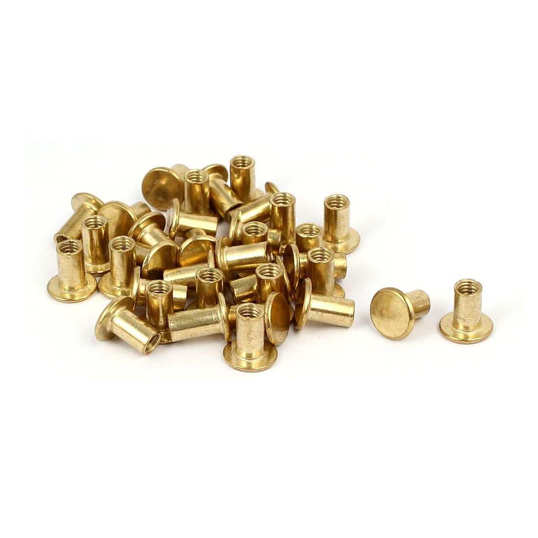 Photo Album Metal Brass Plated Binding Screw Post Barrel Nut 5mmx8mm 35pcs