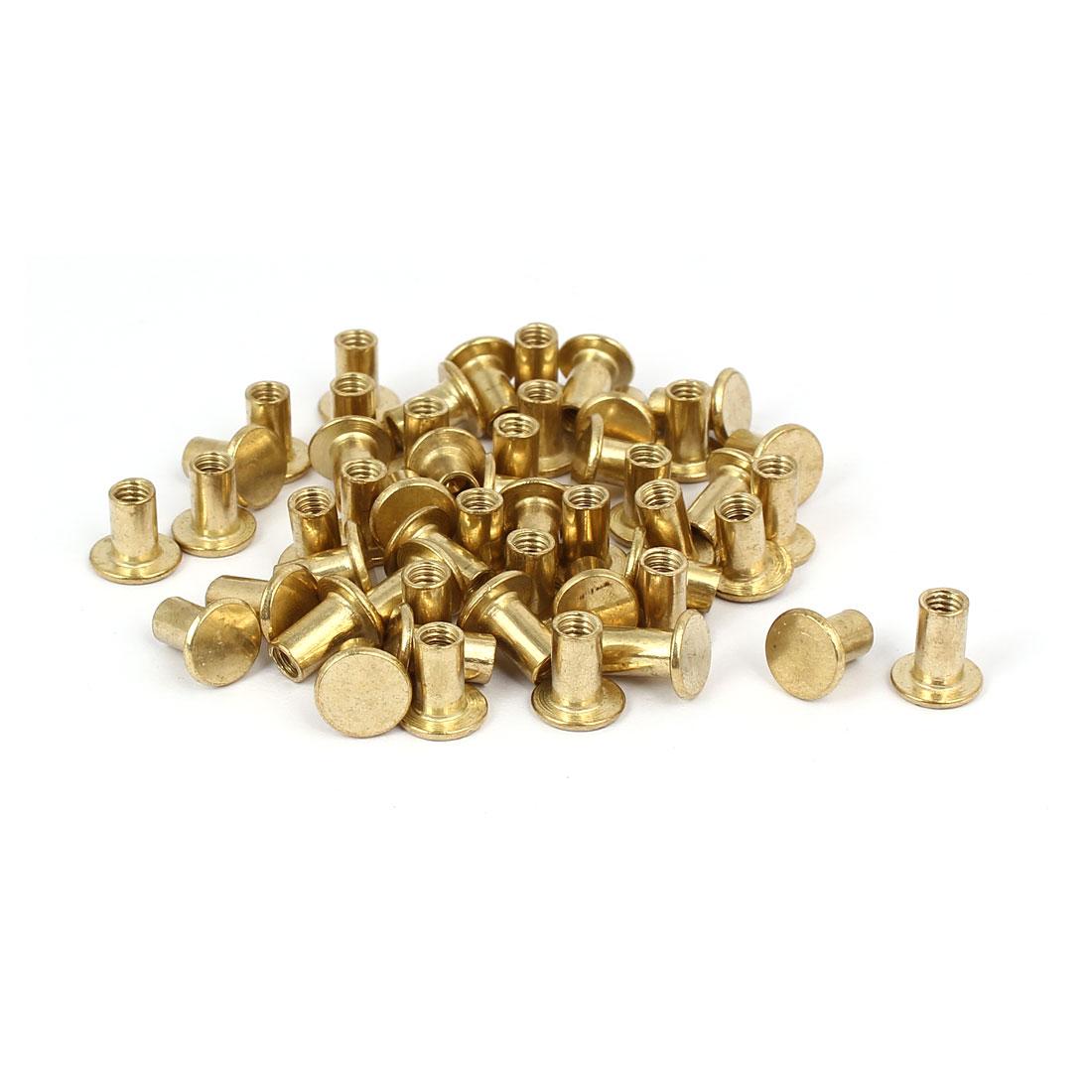 Photo Album Metal Brass Plated Binding Screw Post Barrel Nut 5mmx8mm 50pcs