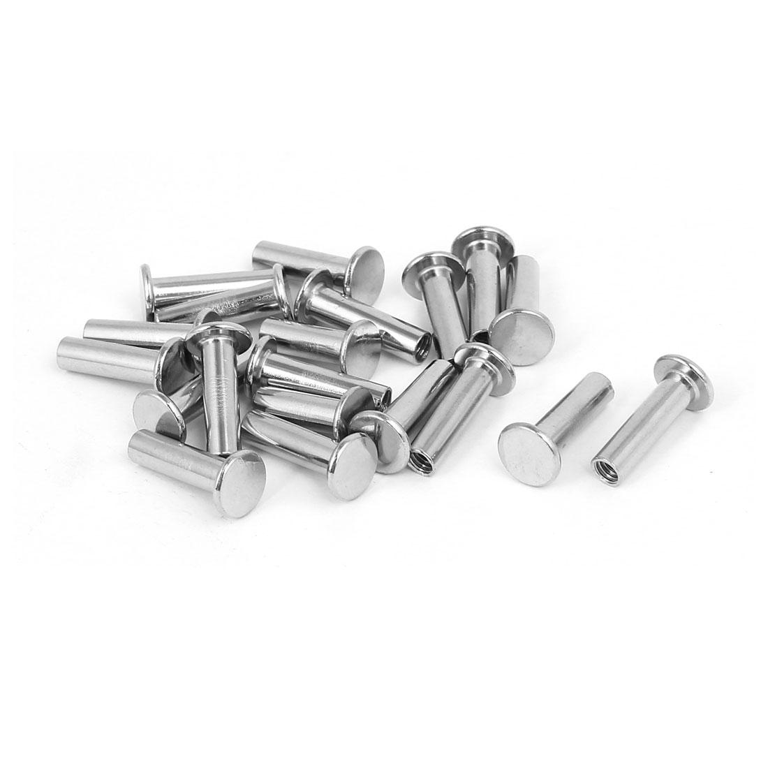 Photo Album Metal Nickel Plated Binding Screw Post Barrel Nut 5mmx17mm 20pcs
