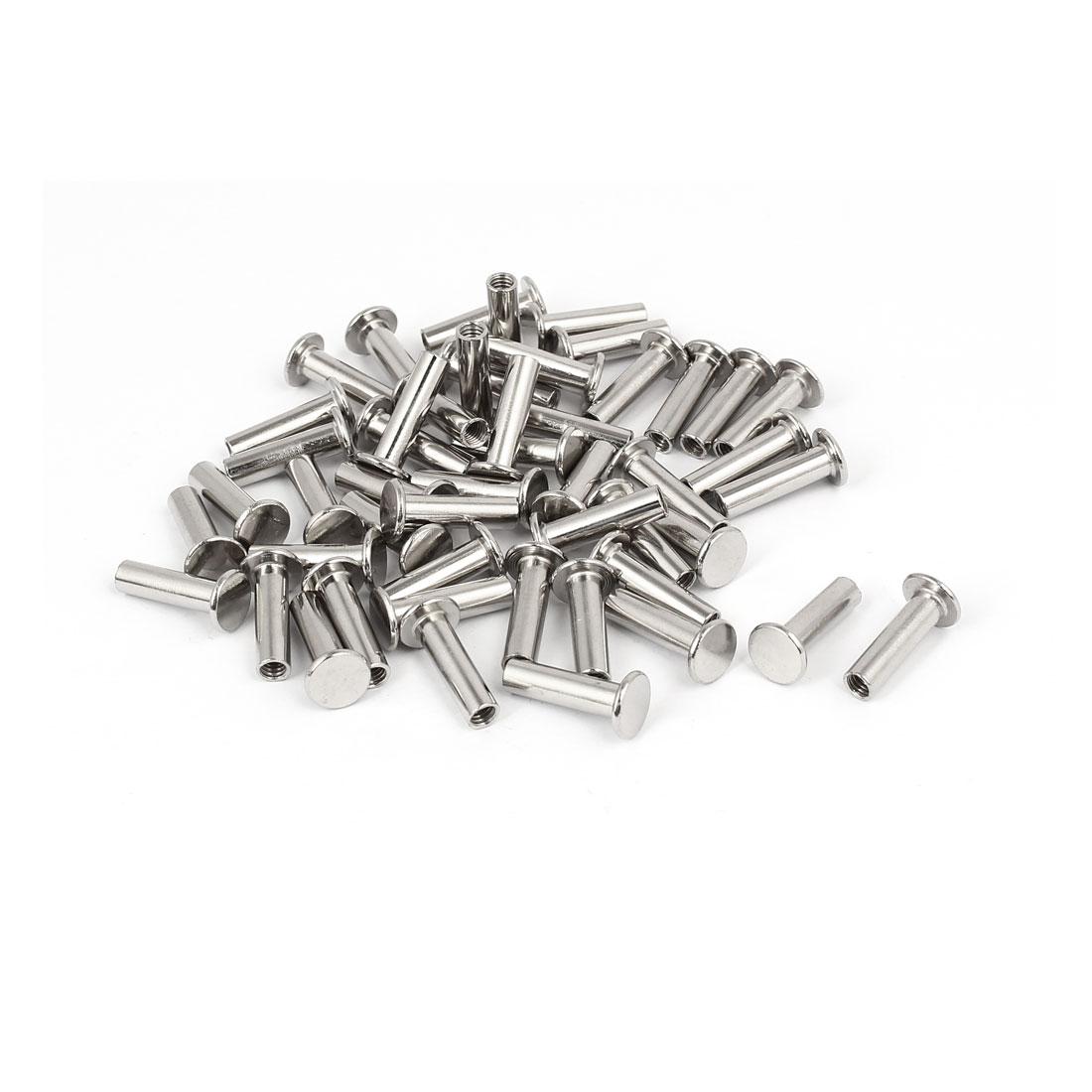 Photo Album Metal Nickel Plated Binding Screw Post Barrel Nut 5mmx17mm 50pcs