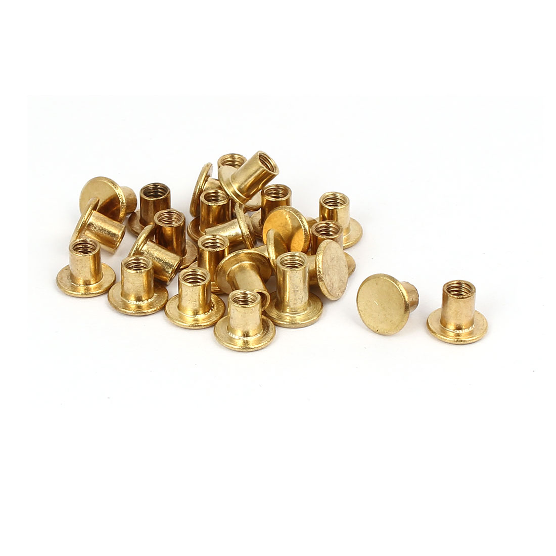 Photo Album Metal Brass Plated Binding Screw Post Barrel Nut 5mmx6mm 25pcs