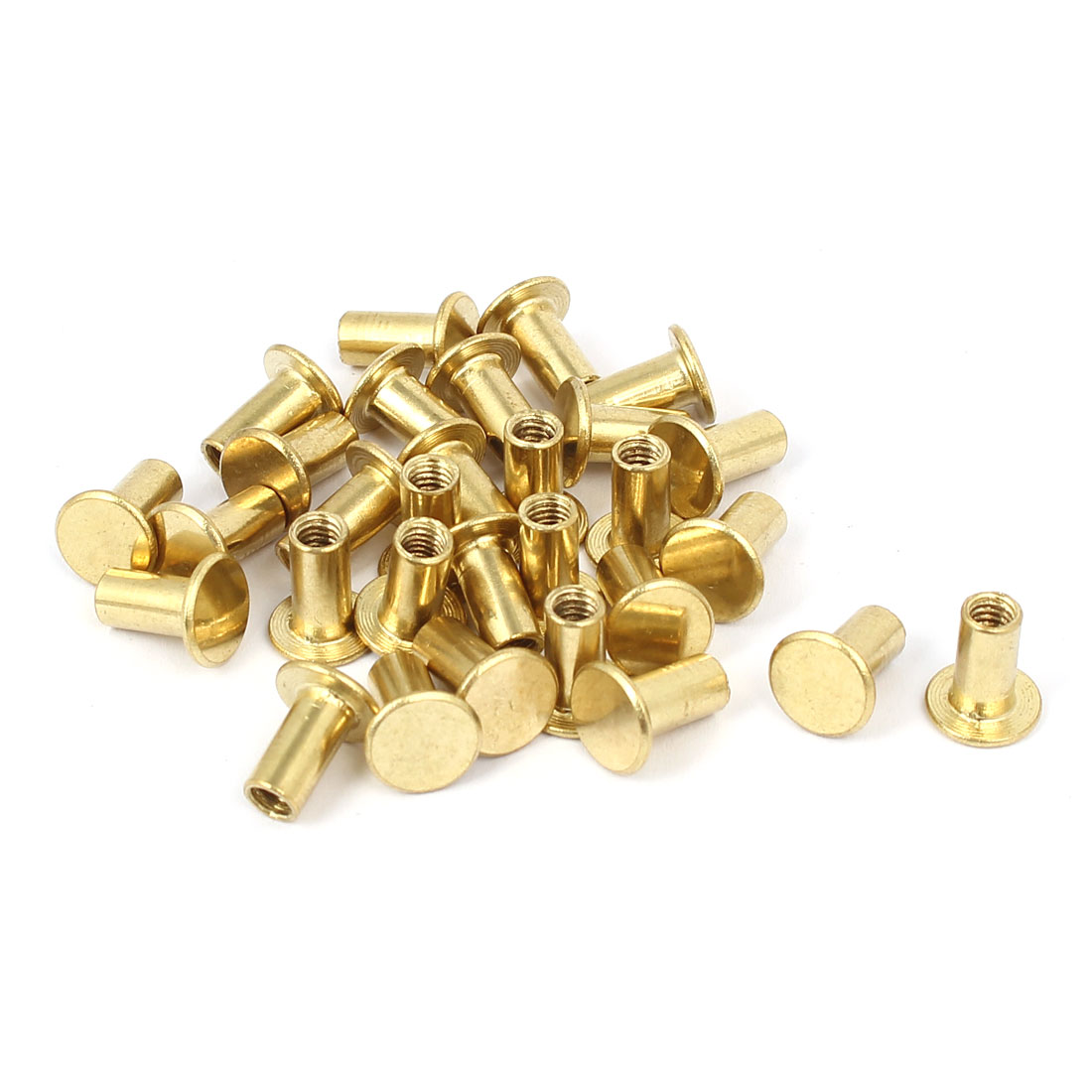 Photo Album Metal Brass Plated Binding Screw Post Barrel Nut 5mmx10mm 30pcs