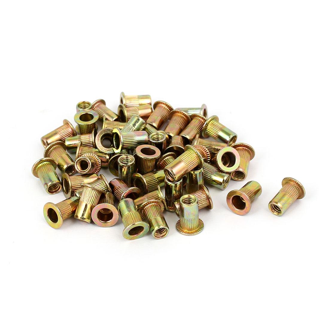 4mmx11mm Straight Knurled Rivet Nut Insert Nutsert Bronze Tone 50pcs