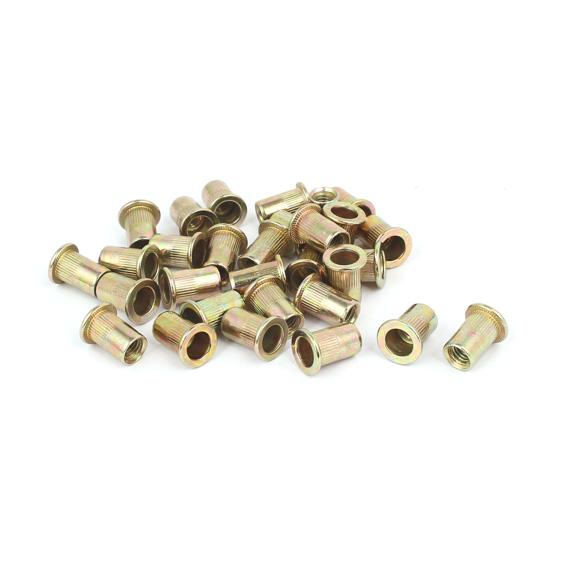 5mmx16mm Straight Knurled Rivet Nut Insert Nutsert Bronze Tone 30pcs