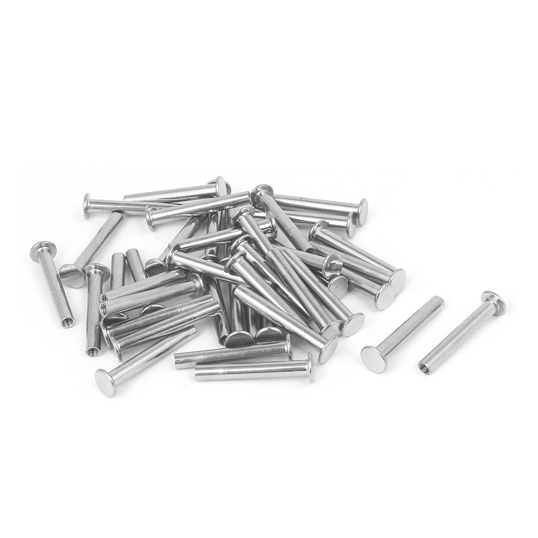 Photo Album Metal Nickel Plated Binding Screw Post Barrel Nut 5mmx35mm 40pcs
