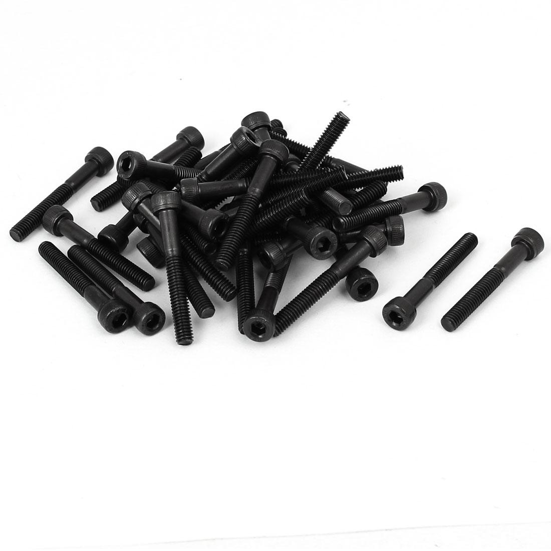 M4 x 30mm Alloy Steel Bolt Cap Point Hex Socket Head Screws Black 40PCS