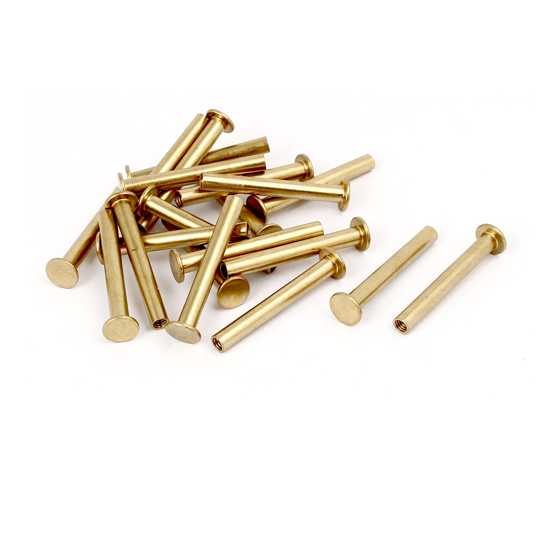 Photo Album Metal Brass Plated Binding Screw Post Barrel Nut 5mmx40mm 20pcs