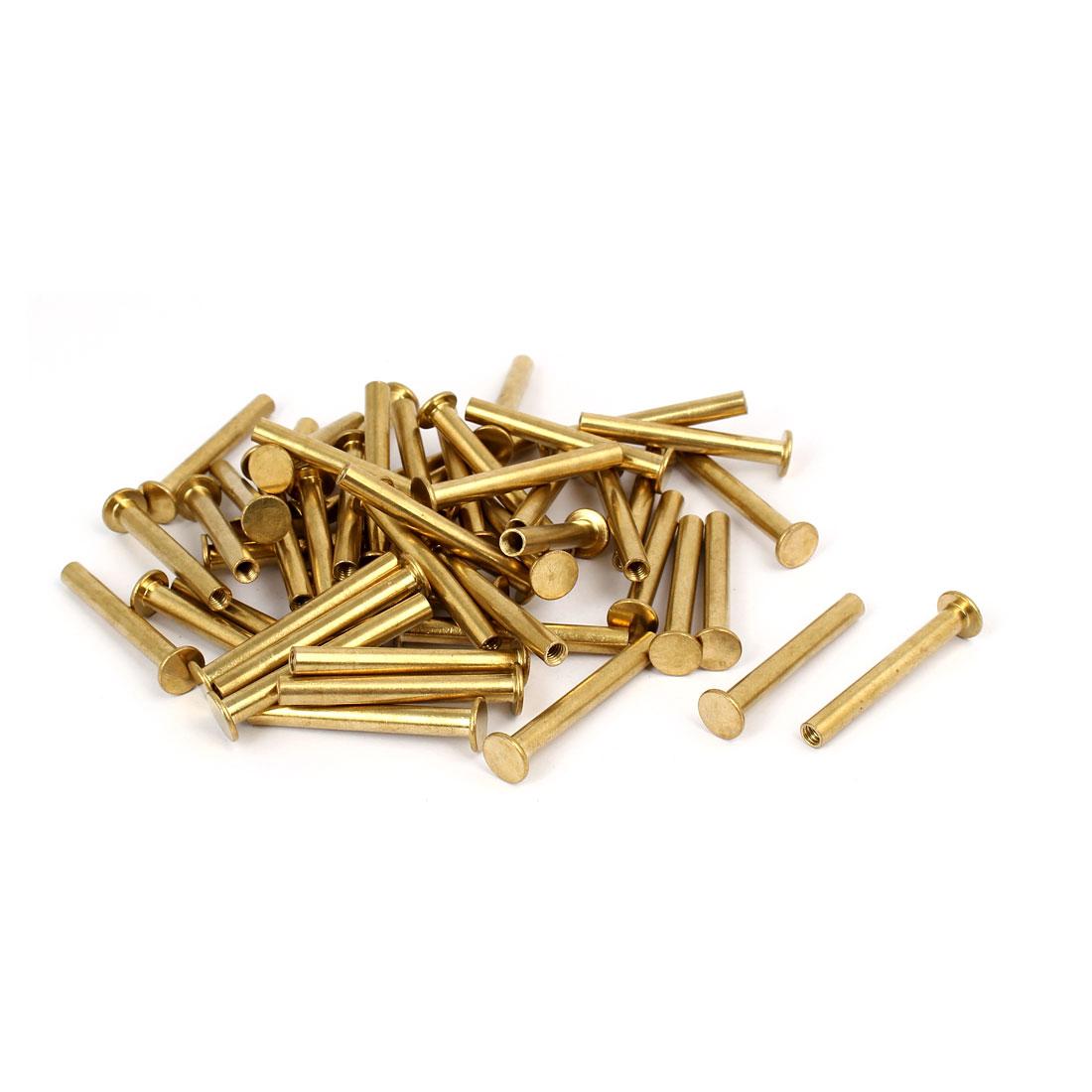 Photo Album Metal Brass Plated Binding Screw Post Barrel Nut 5mmx40mm 50pcs