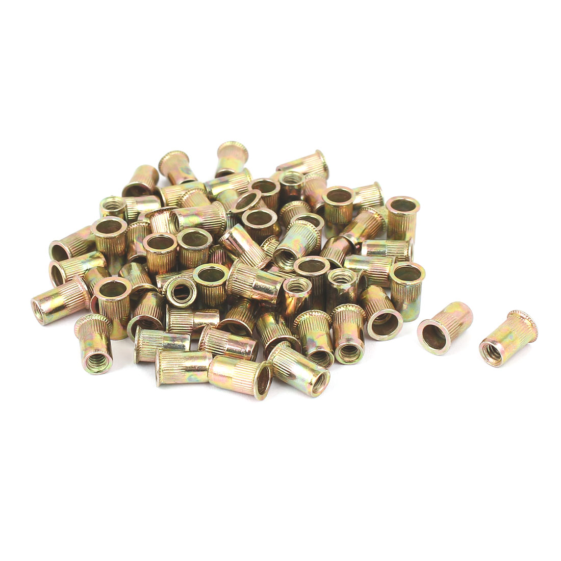 "5/32""-32 Straight Knurled Reduced Head Rivet Nut Nutsert Bronze Tone 70pcs"