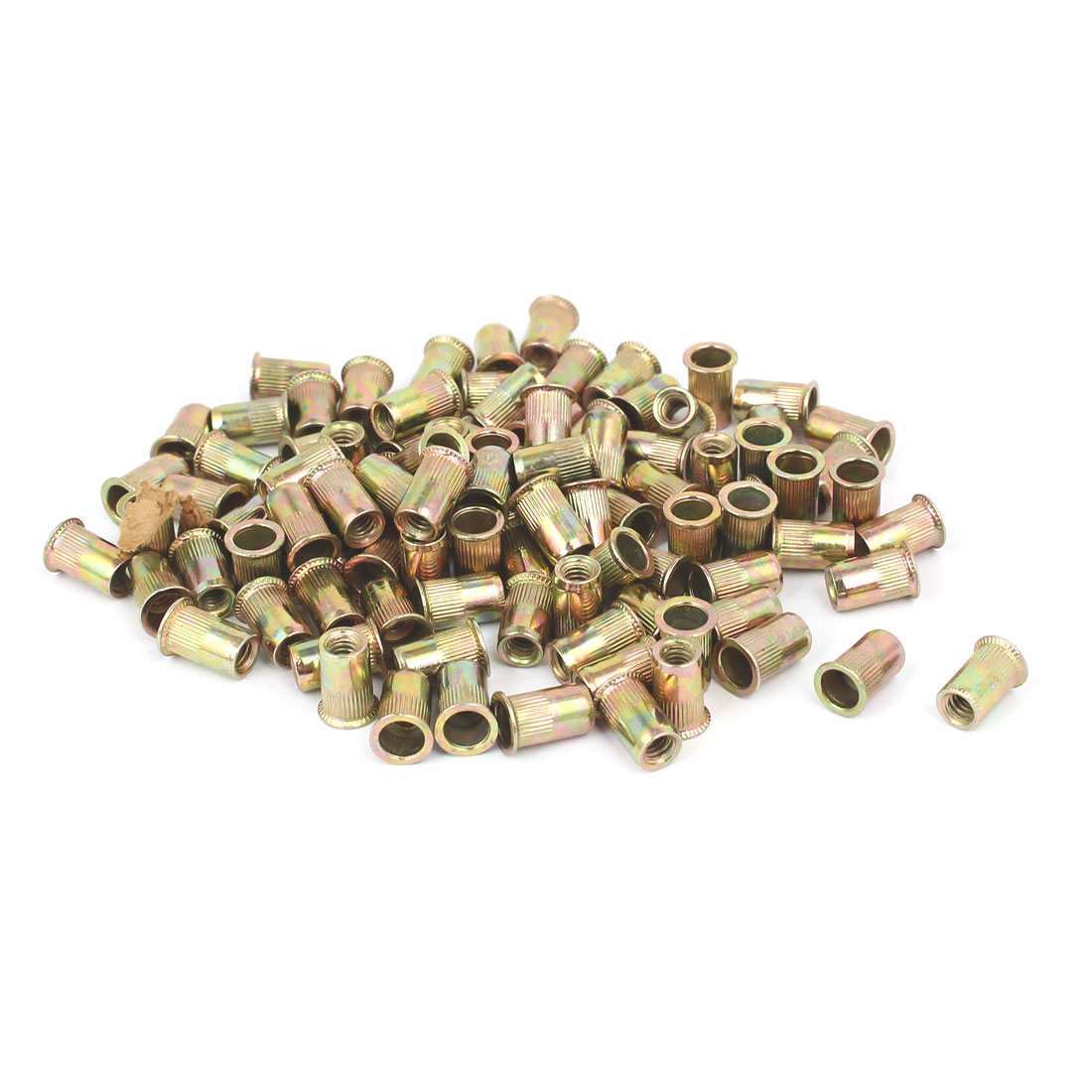 "5/32""-32 Straight Knurled Reduced Head Rivet Nut Nutsert Bronze Tone 100pcs"