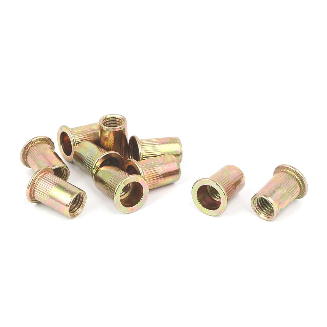10mmx21mm Knurled Stripes Rivet Nut Insert Nutsert Bronze Tone 10pcs