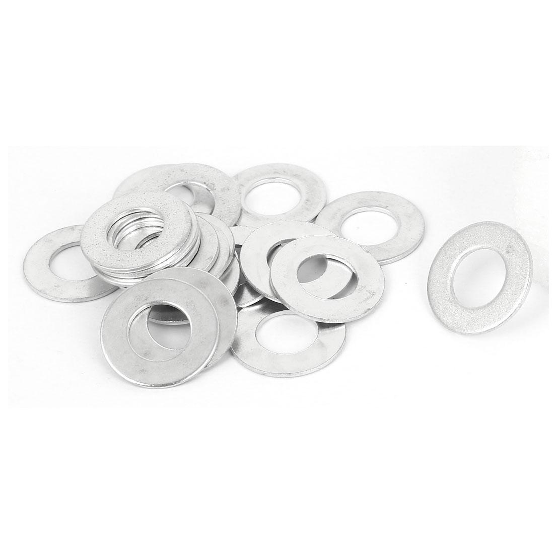 10mm x 20mm x 1mm Zinc Plated Flat Spacers Washers Gaskets Fasteners GB97 20PCS