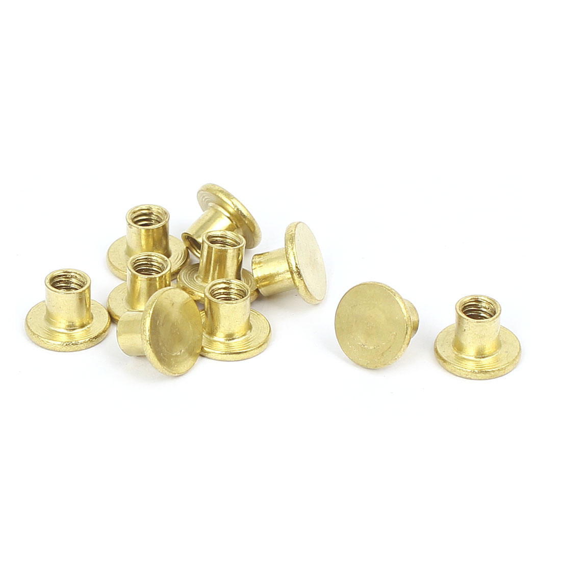 Photo Album Metal Brass Plated Binding Screw Post Barrel Nut 5mmx5mm 10pcs