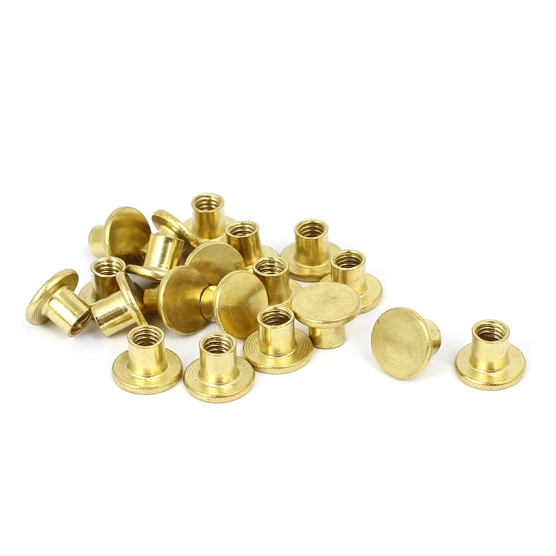 Photo Album Metal Brass Plated Binding Screw Post Nut 5mmx5mm 20pcs