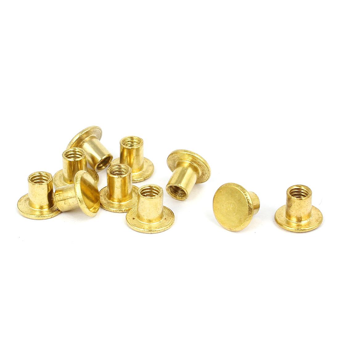 Photo Album Metal Brass Plated Binding Screw Post Barrel Nut 5mmx5.5mm 10pcs