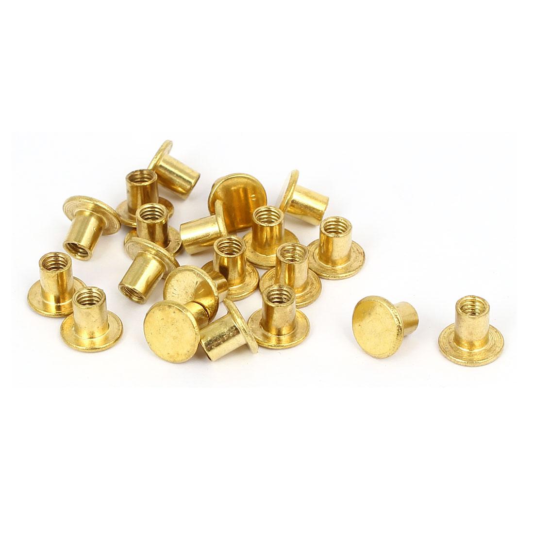 Photo Album Metal Brass Plated Binding Screw Post Barrel Nut 5mmx5.5mm 20pcs