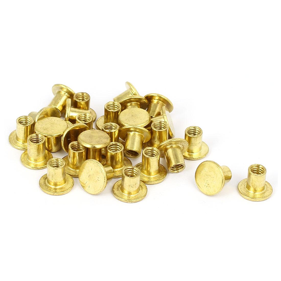 Photo Album Metal Brass Plated Binding Screw Post Barrel Nut 5mmx5.5mm 29pcs
