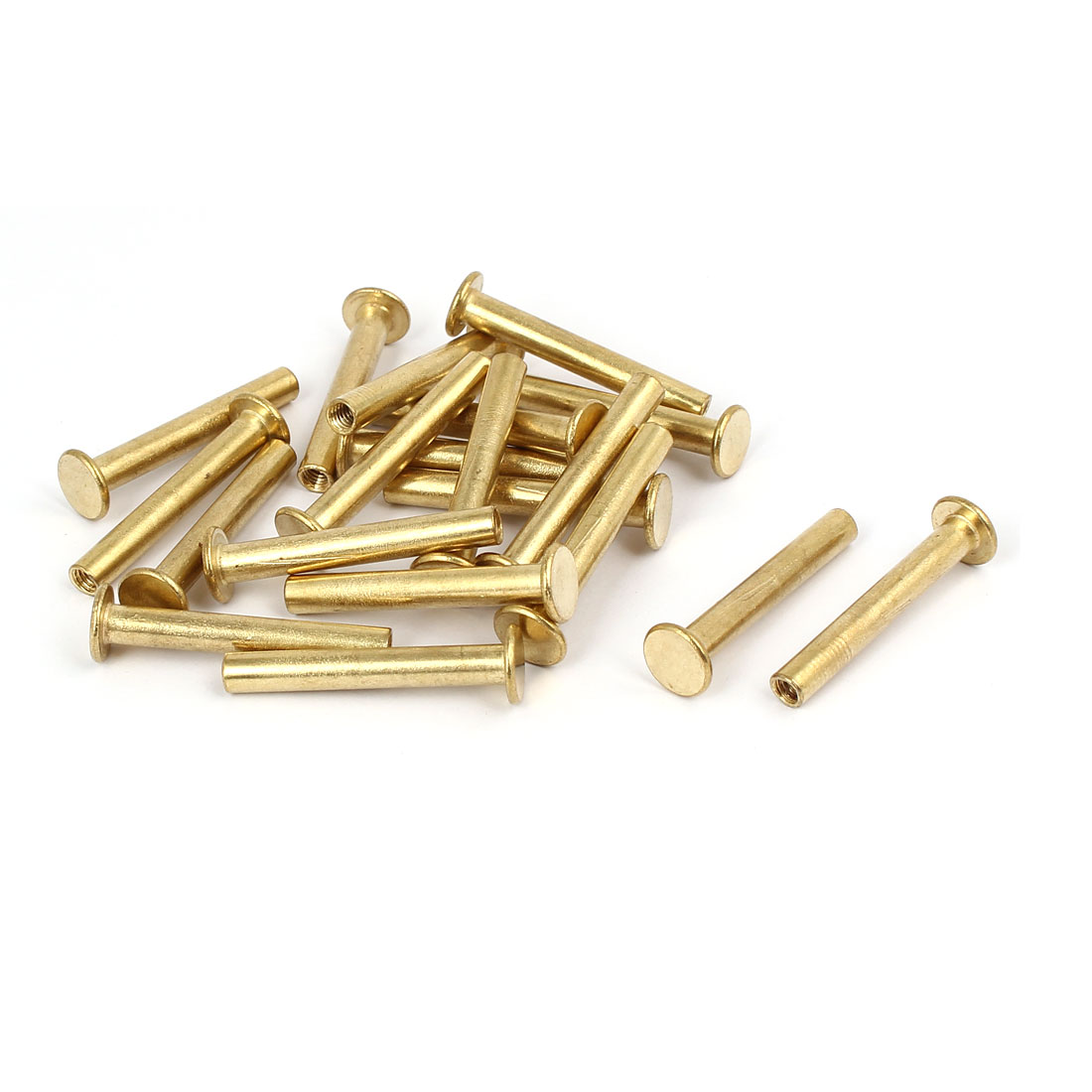 Photo Album Metal Brass Plated Binding Screw Post Barrel Nut 5mmx35mm 20pcs