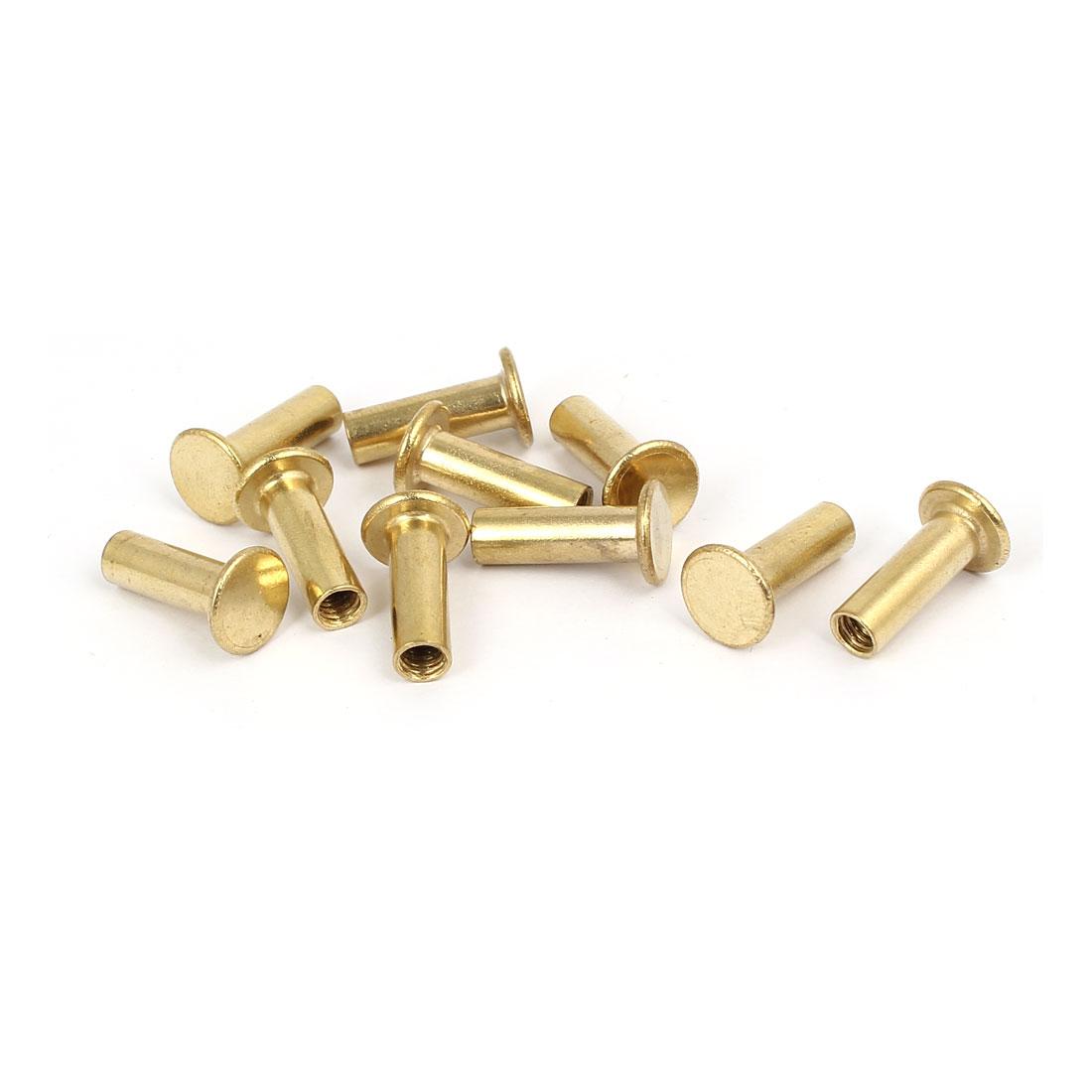 Photo Album Metal Brass Plated Binding Screw Post Barrel Nut 5mmx15mm 10pcs