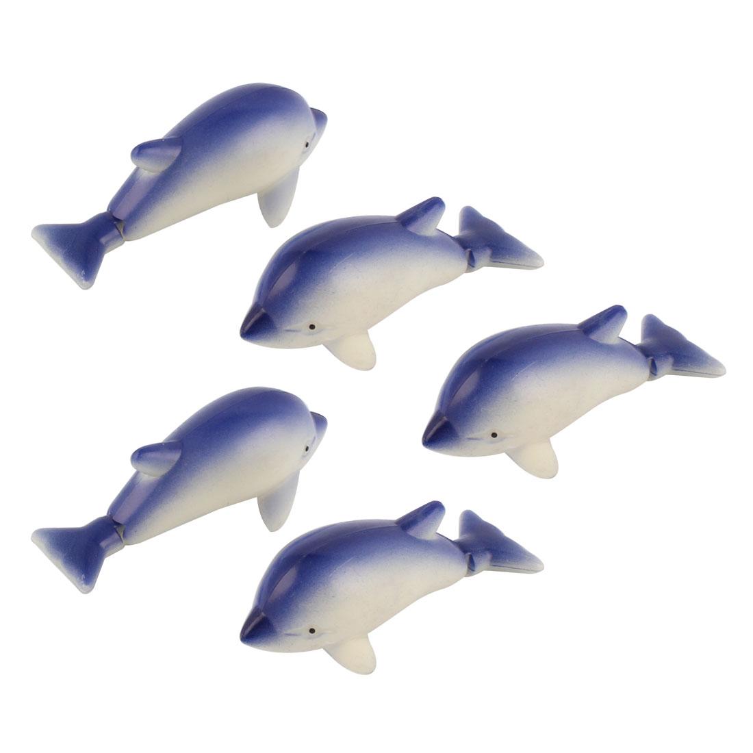Plastic Artificial Aquarium Decoration Fish Tank Ornament Dolphin Blue Beige 5pcs