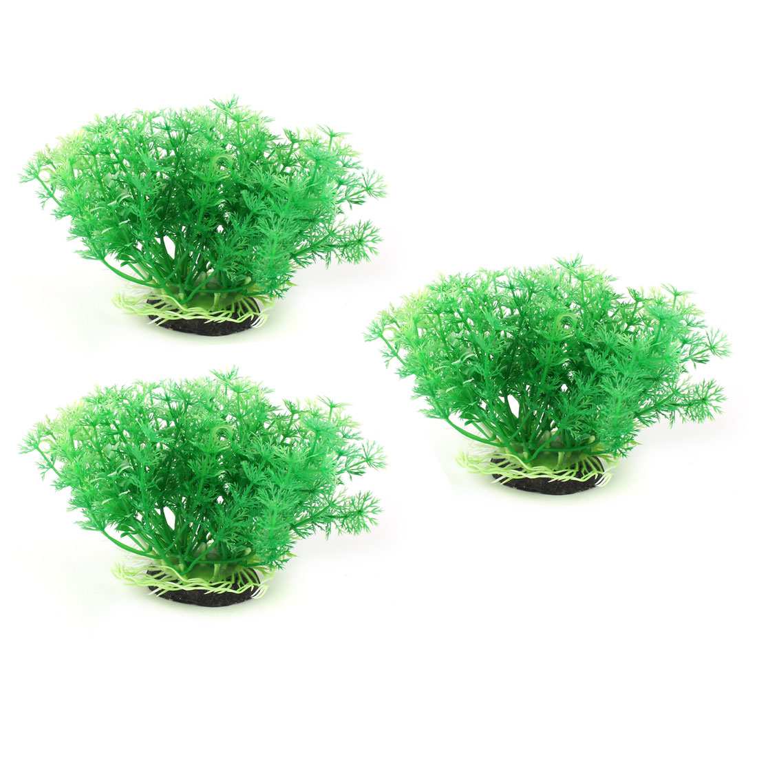 Aquarium Fish Tank Ceramic Base Plastic Underwater Plant Landscape Decor Green 3pcs