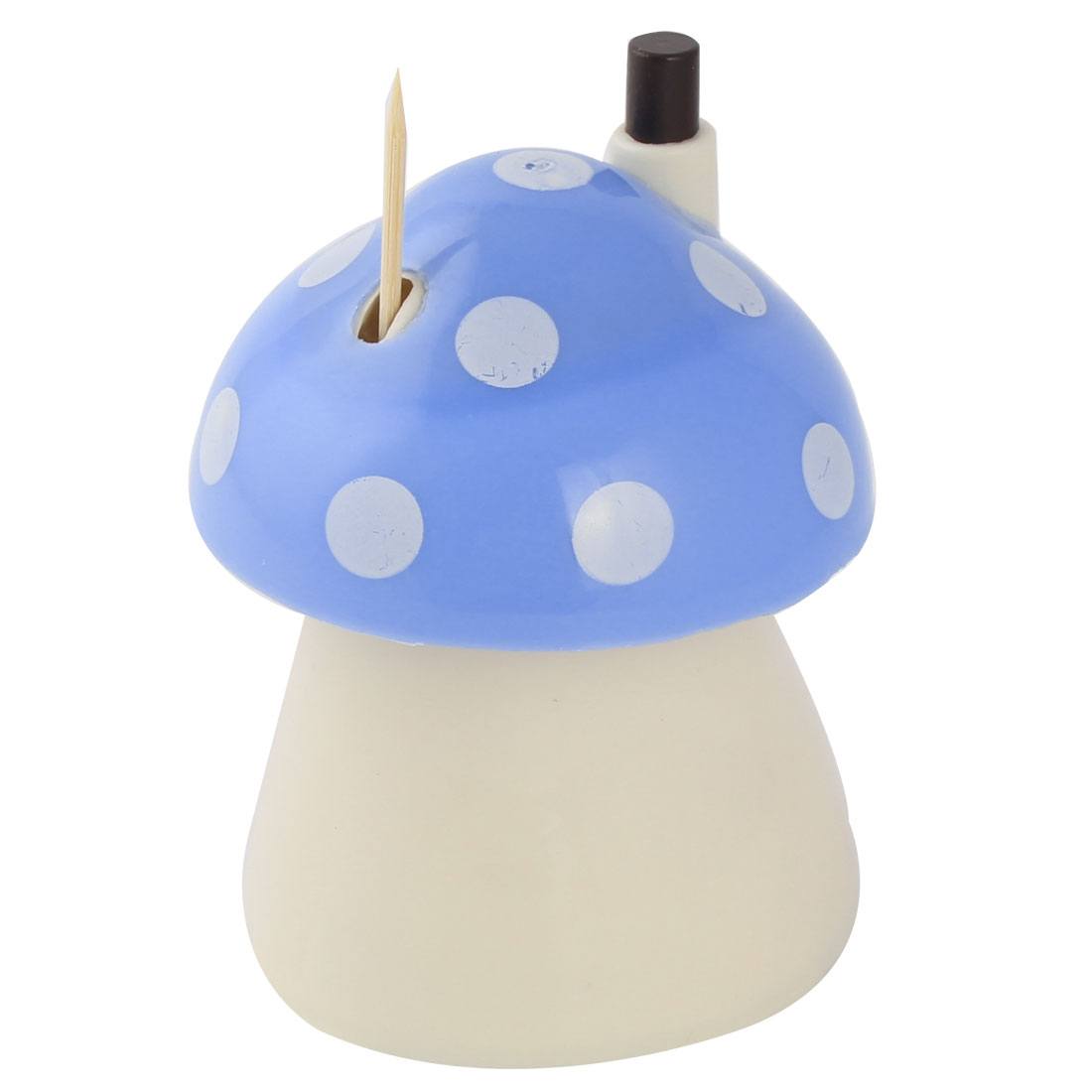 Family Automatic Plastic Mushroom Shaped Toothpick Holder Case Sky Blue White