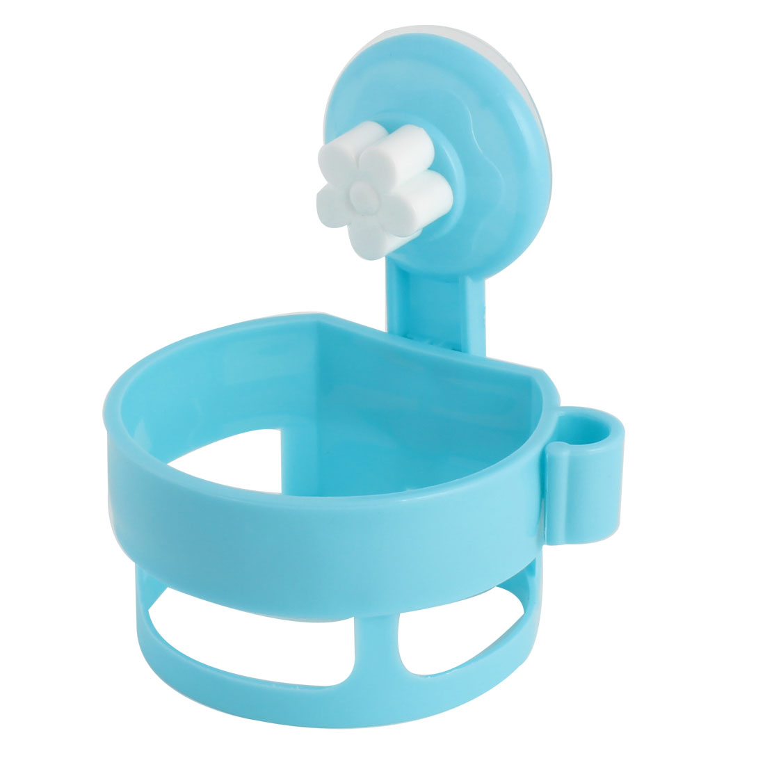 Home Suction Cup Wall Mount Plastic Round Hair Blow Dryer Holder Stand Rack Cyan