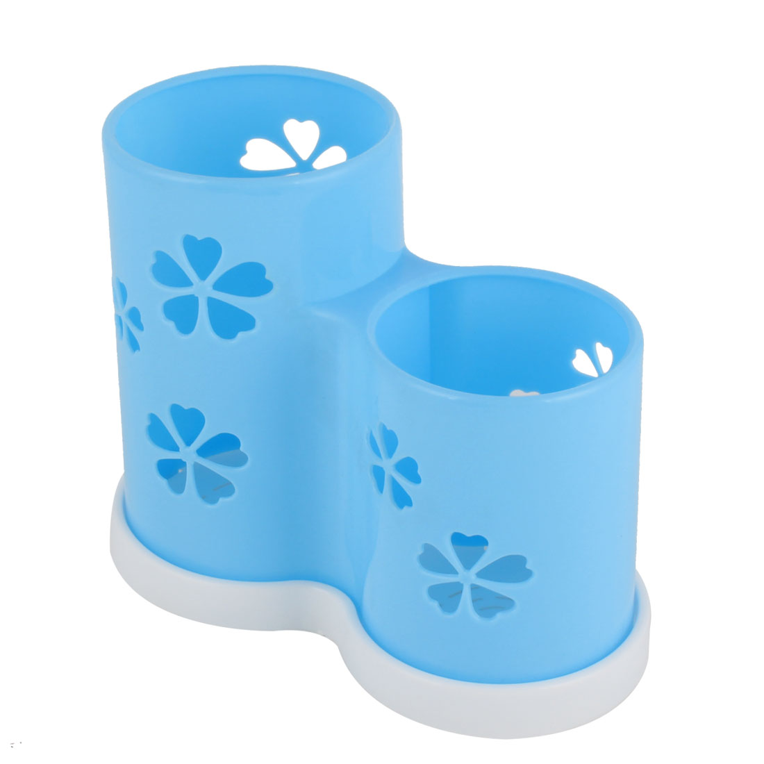 Plastic Flower Pattern Hollow Out 2 Compartments Chopsticks Holder Cage Blue