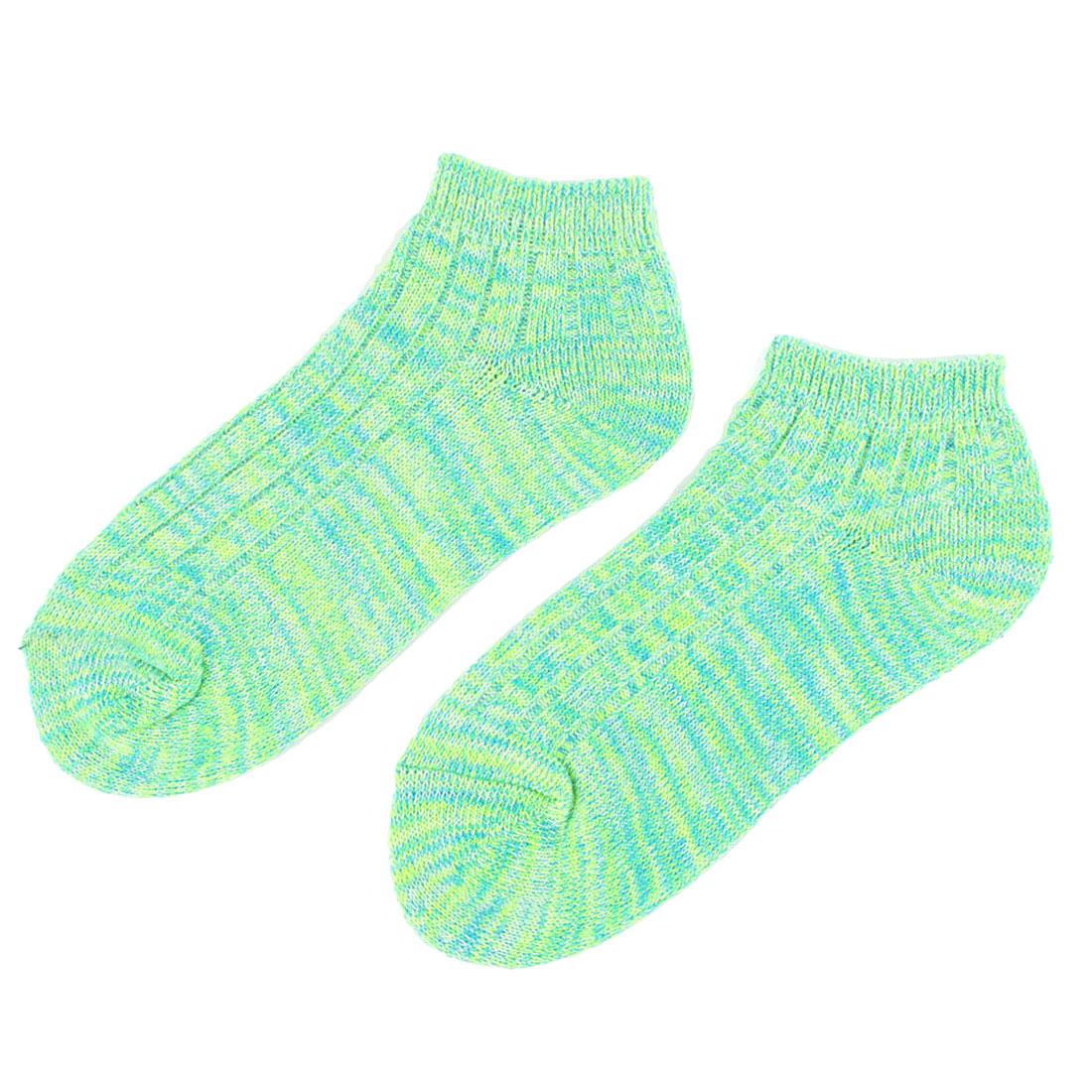 Men Elastic Low Cut Cuffs Ankle Length Short Socks Light Green Blue Pair