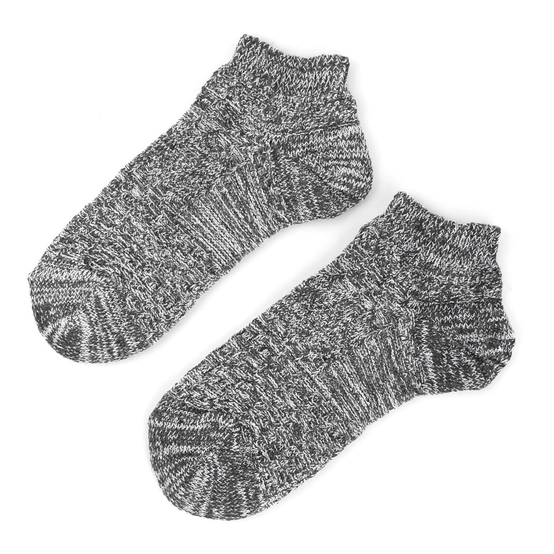Man Elastic Low Cut Cuffs Ankle Length Short Socks Gray White