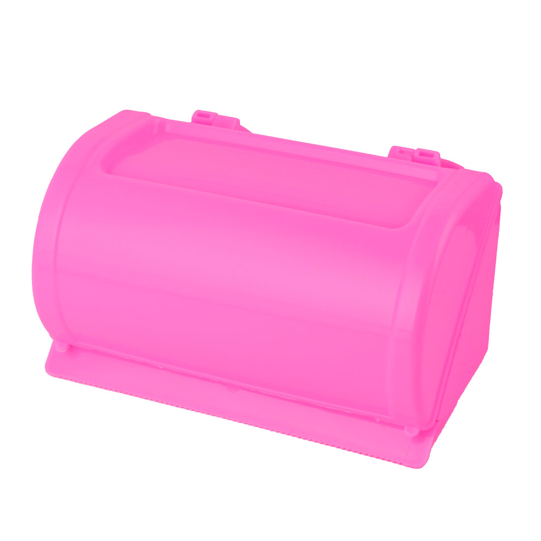 Bathroom Plastic Rectangle Suction Cup Toilet Roll Paper Tissue Holder Fuchsia