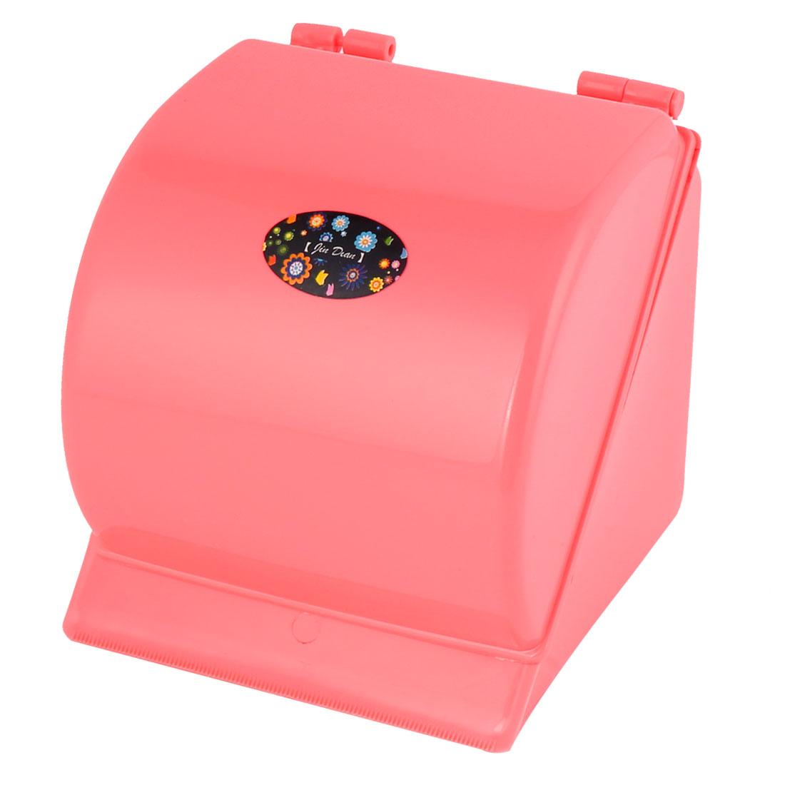 Bathroom Plastic Sticky Toilet Roll Paper Tissue Hanger Holder Rack Coral Pink