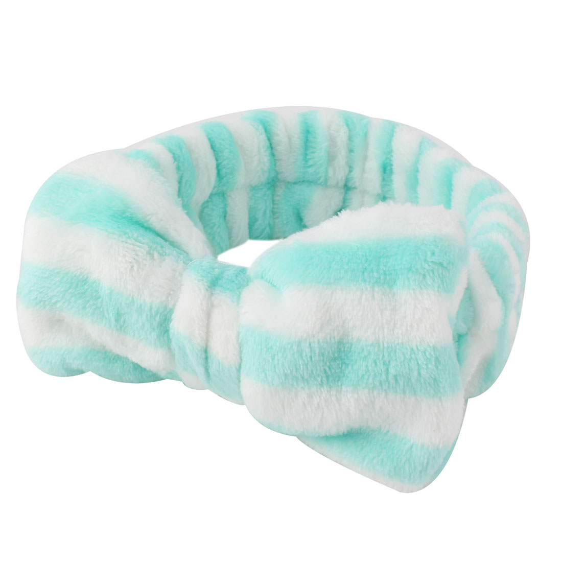 Women Cotton Blend Bowknot Decoration Headband Pale Blue White