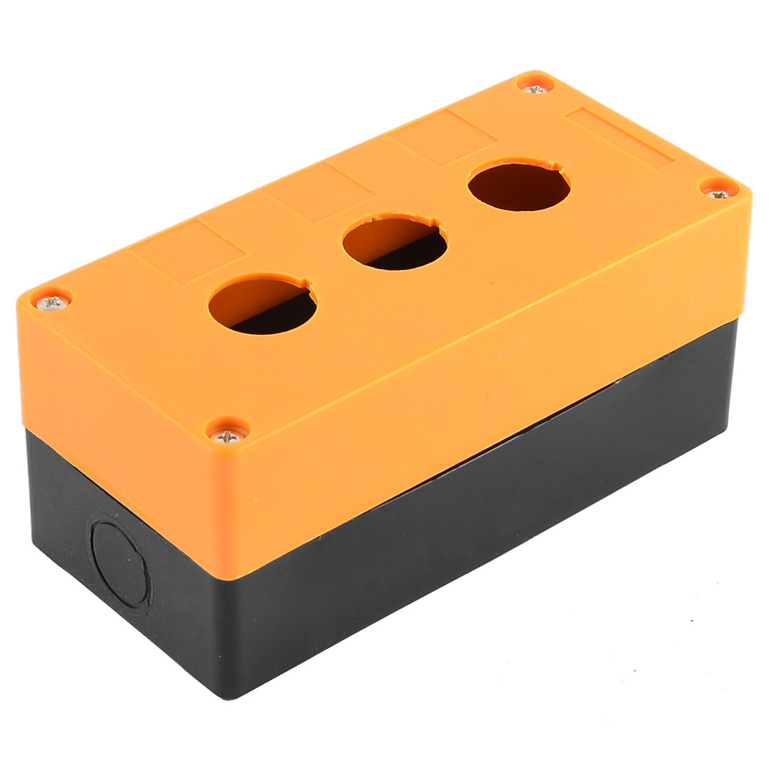 Black Yellow Plastic 3 Buttons Pushbutton Switch Control Station Box w Screws