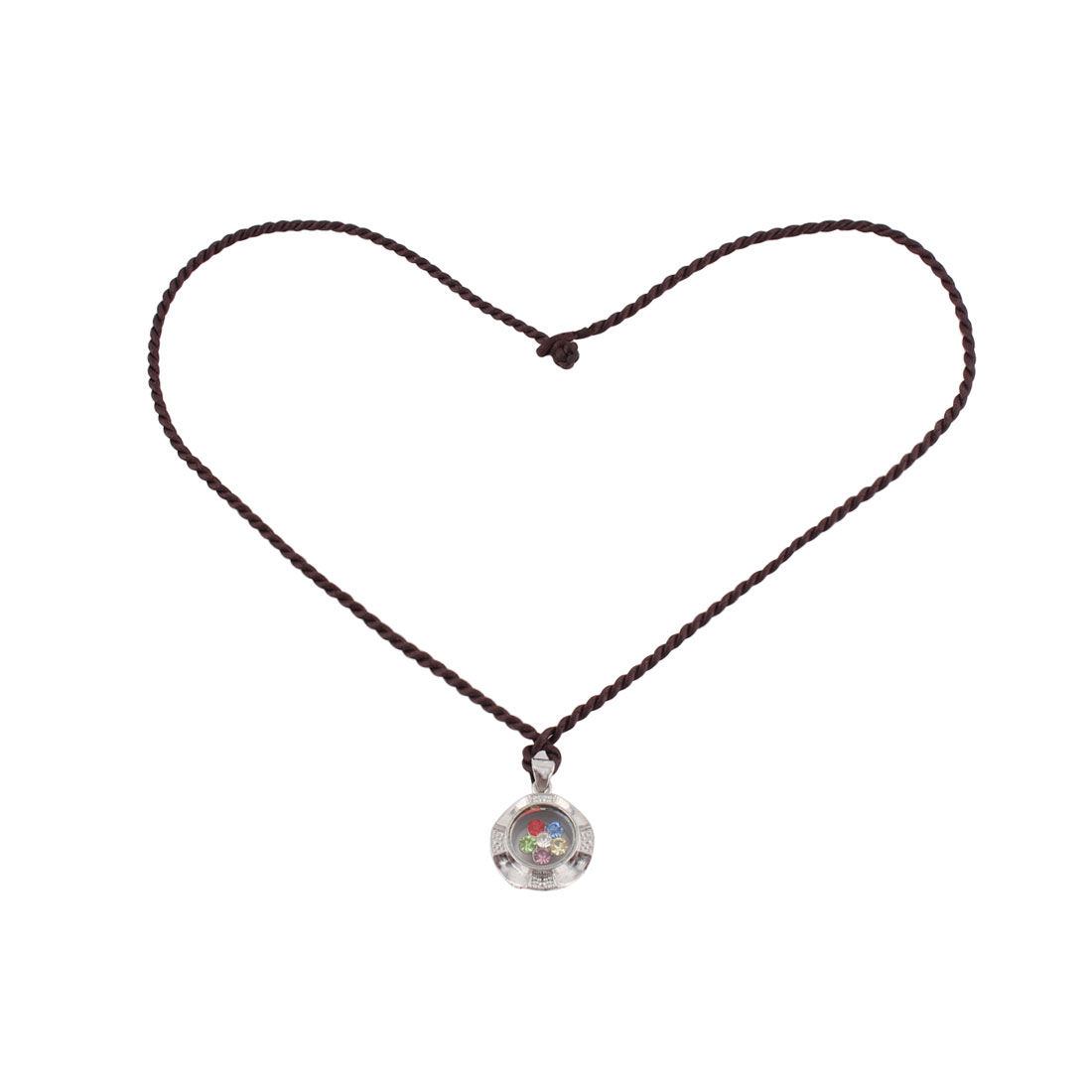 Round Shaped Rotated Seven Colors Artificial Rhinestones Pendant String Necklace