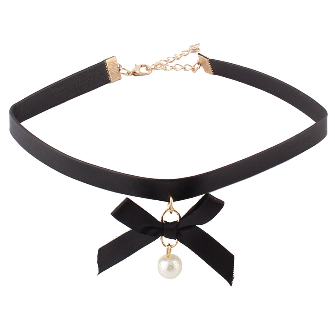 Lady Faux Leather Artificial Pearl Pendant Bow Decoration Ribbon Choker Necklace Black