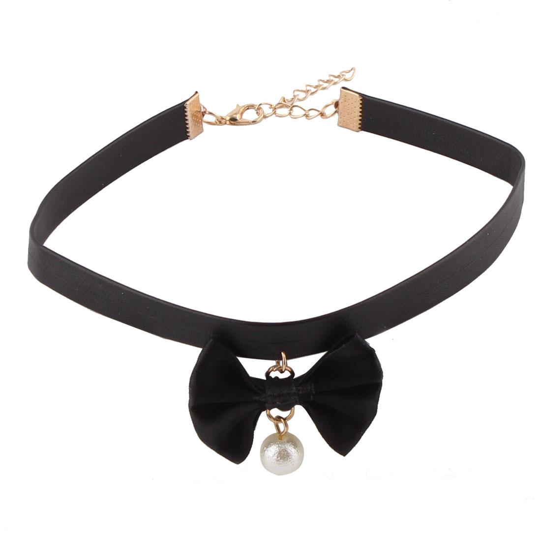 Lady Faux Leather Bow Decoration Imitation Pearl Pendant Ribbon Choker Necklace Black