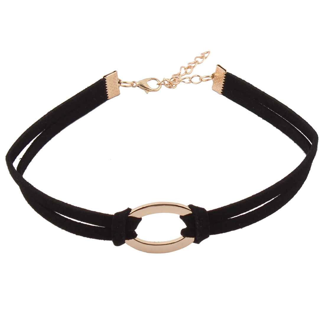 Faux Leather Clothing Decor Gold Tone Oval Design Ribbon Choker Necklace Black