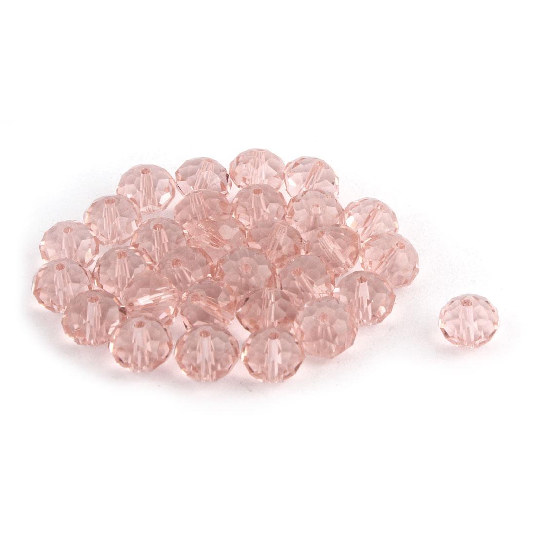 Bracelet Necklace Artifical Glittery Crystal Beads Light Pink 10MM 30 PCS