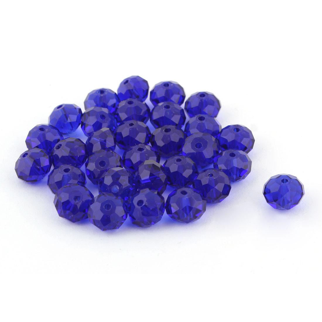 Women Jewelry Bracelet Necklace Artifical Glittery Crystal Beads Navy Blue 10MM 30 PCS