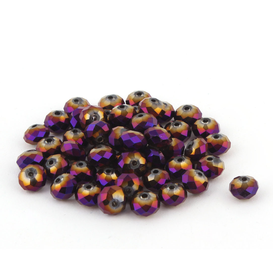 Lady Jewelry Bracelet Necklace Artifical Glittery Crystal Beads Purple Gold 8MM 50 PCS