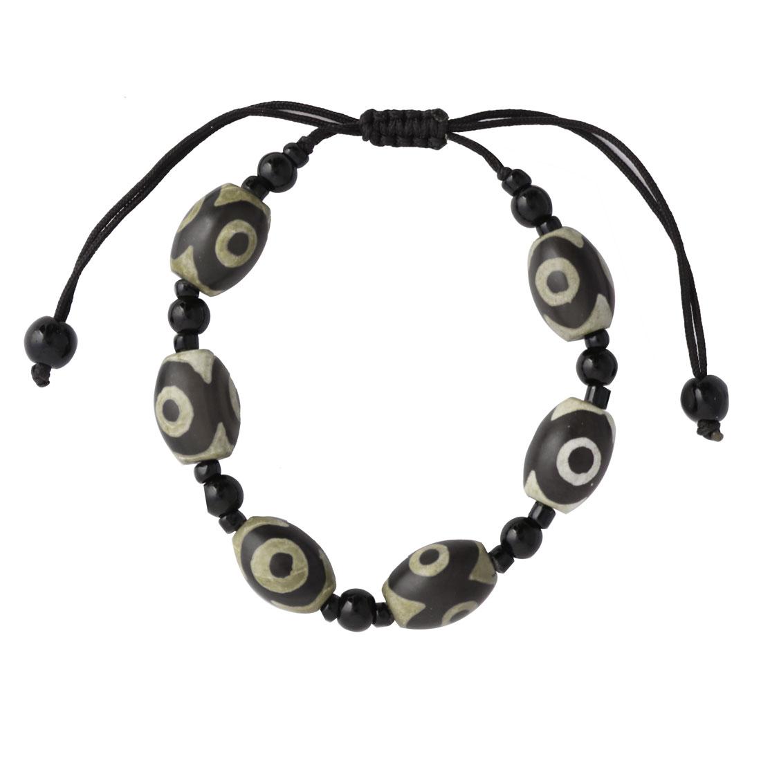 Unisex Oval Beads Eye Pattern Adjustable Jewelry Wrist Handmade Braided Bracelet