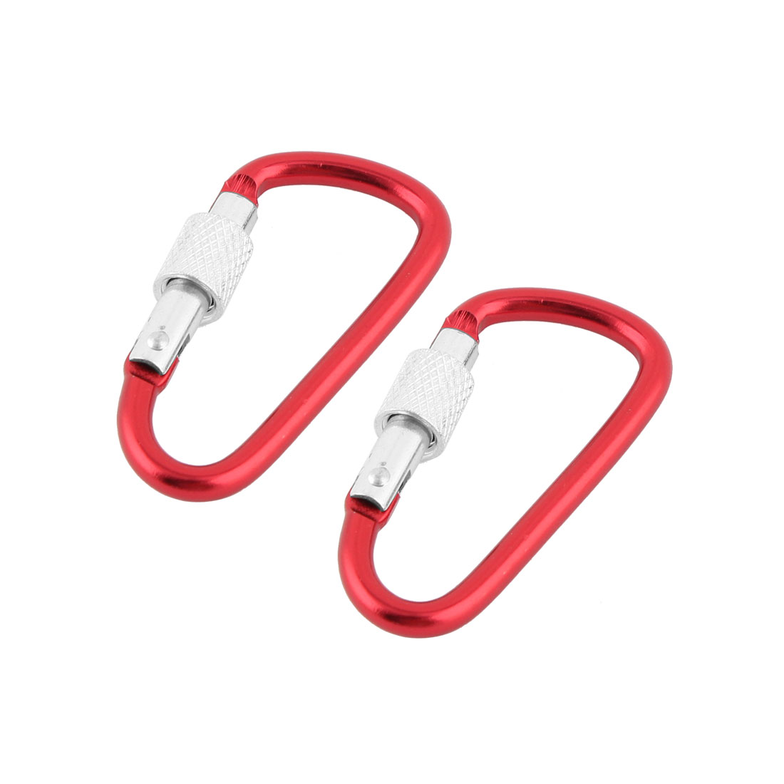 Tripper Camping Hiking Aluminium Alloy D Shaped Bag Bottle Carabiner Hook Red 2 Pcs