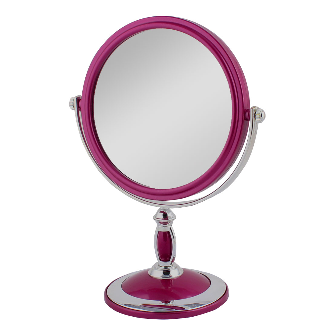 Lady Dresser Metal Rim Classical Style Dual Sided Magnifying Standing Makeup Mirror Carmine