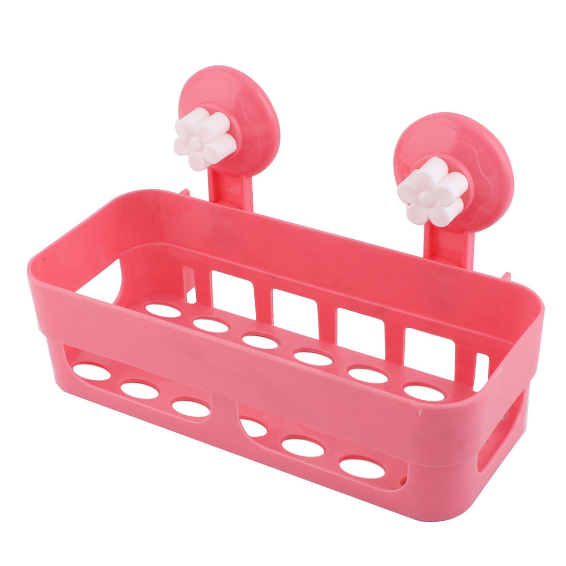 Bathroom Kitchen Rectangle Plastic Commodity Organize Suction Cup Shelf Holder Pink