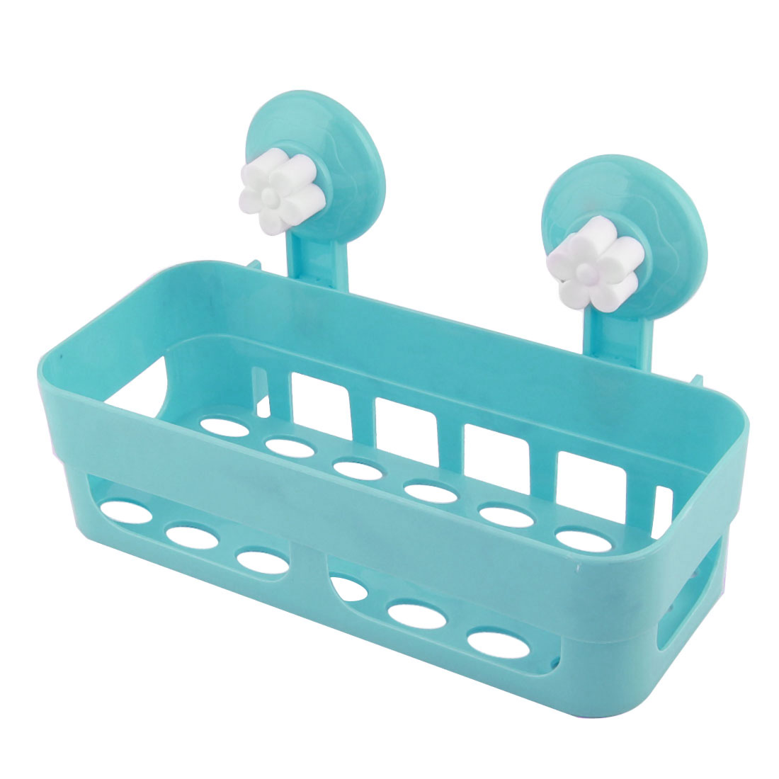 Bathroom Kitchen Rectangle Plastic Commodity Organize Suction Cup Shelf Holder Blue