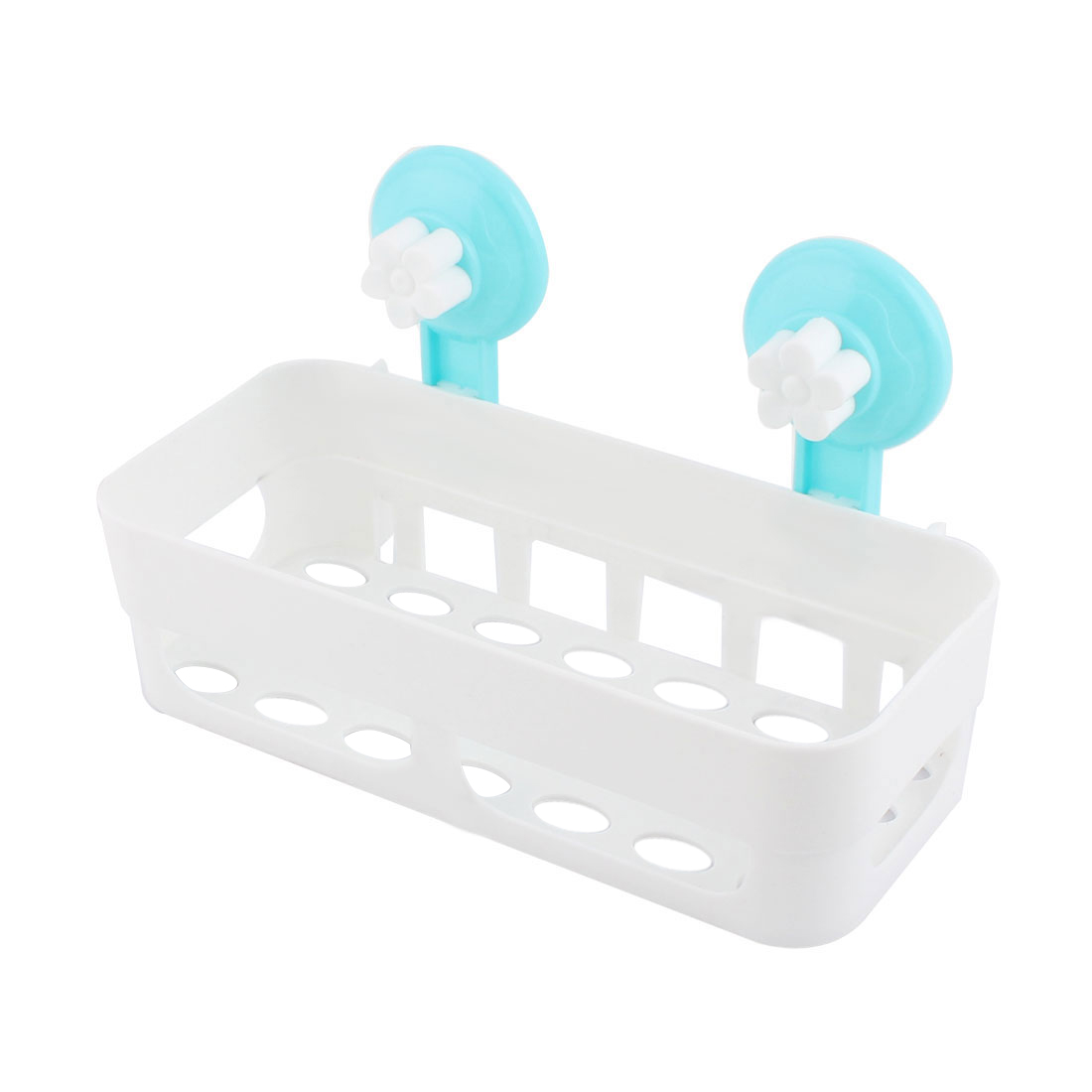 Bathroom Kitchen Rectangle Plastic Commodity Organize Suction Cup Shelf Holder White
