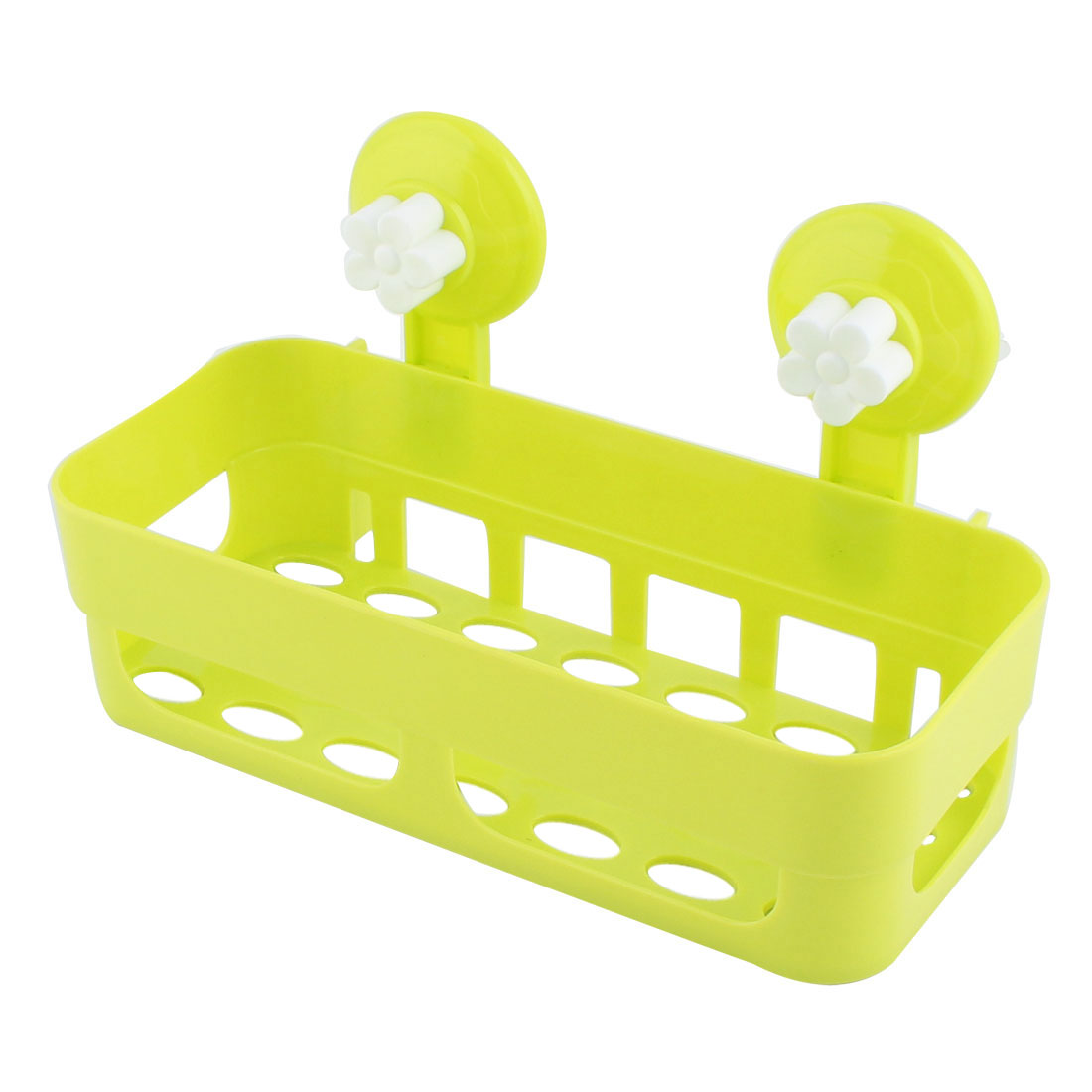 Bathroom Kitchen Rectangle Plastic Commodity Organize Suction Cup Shelf Holder Green
